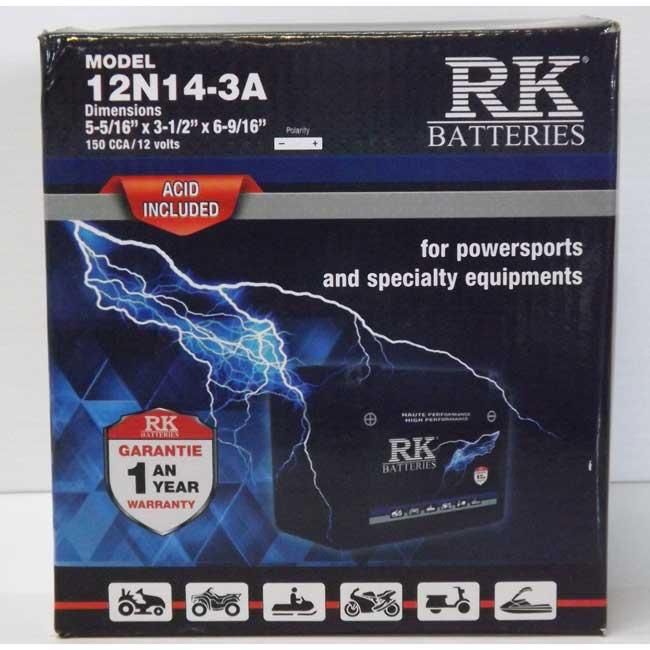 Batterie véhicule récréatif 12N14-3A , 085-003 RK-BATTERIES