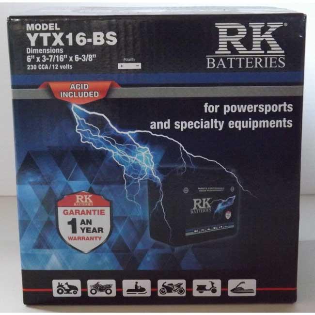 Batterie véhicule récréatif YTX16-BS , 085-041 RK-BATTERIES