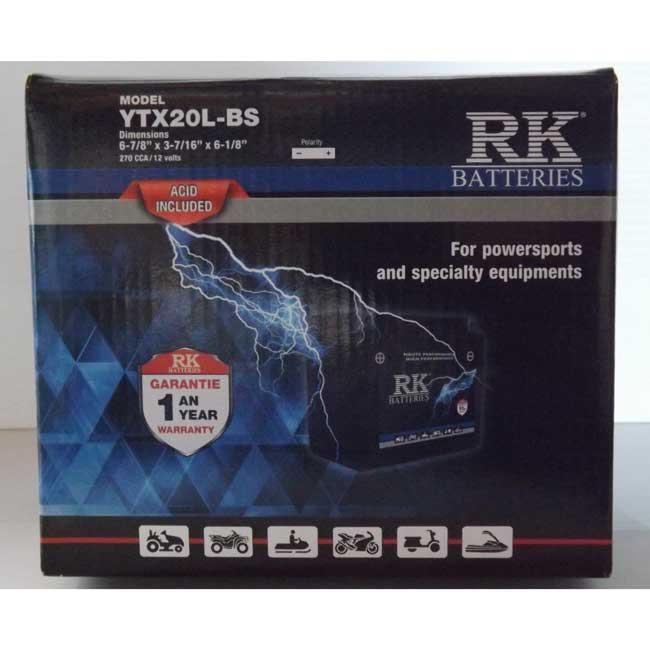 Batterie véhicule récréatif YTX20L-BS , 085-036 RK-BATTERIES