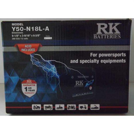 Batterie véhicule récréatif Y50-N18L-A , 085-050 RK-BATTERIES