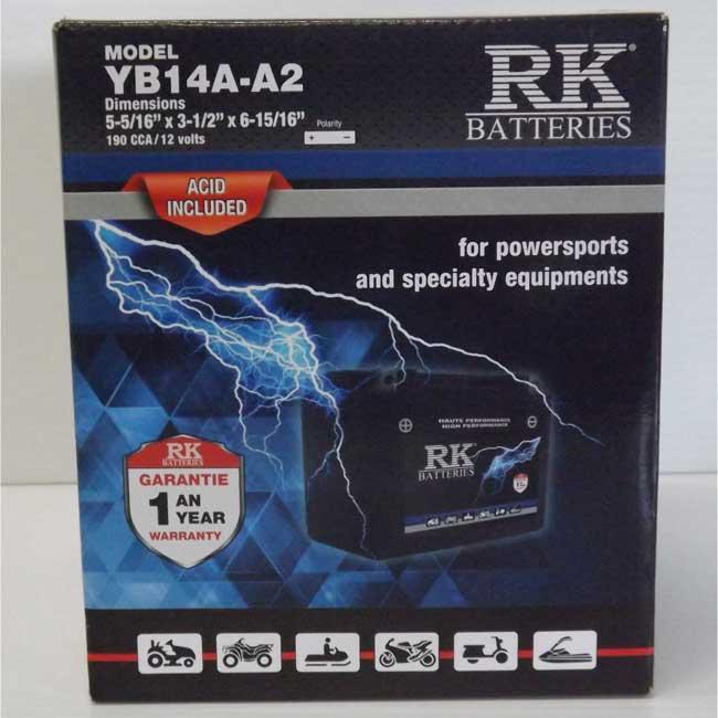 Batterie véhicule récréatif YB14A-A2 , 085-004 RK-BATTERIES