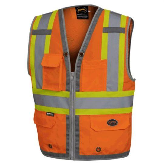 Vestes d'arpenteur au dos en maille avec fermeture à glissière V1010250-L PIONEER